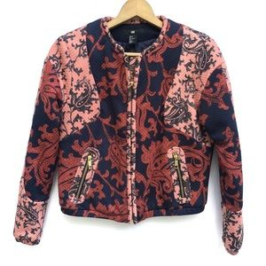 H&M Damask Baroque Pattern Quilted Zip Jacket